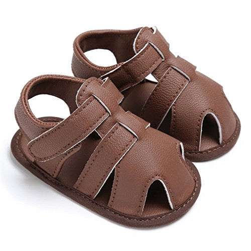 Newborn Baby Boys Shoes PU Leather Kid First Walkers Soft Soled Infant Prewalker Brown 0-6 Months