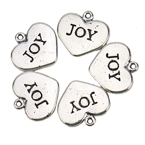 JETEHO 30 Pcs Silver Tone Heart Joy Charm Pendants Words Inspirational Charms for Making Bracelet Necklace Jewelry Findings ()