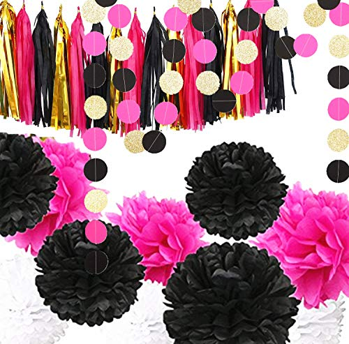 Fonder Mols Bachelorette Party Decorations 28pcs Black Fuchsia Gold Tassels Tissue Paper Flowers Pom Poms Circle Garlands for Baby Shower Bridal Shower Birthday Party Nursery Decoration