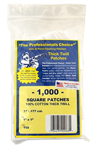 hoice Pistol/Rifle Cotton Twill 1-Inch Square Gun Cleaning Patches (1000-Pack), .17/.177-Calibre (T68 Pistol)