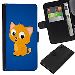 // PHONE CASE GIFT // Moda Estuche Funda de Cuero Billetera Tarjeta de crédito dinero bolsa Cubierta de proteccion Caso Sony Xperia Z2 D6502 / Cute Funny Kitten Yellow Pet Animal Cat /