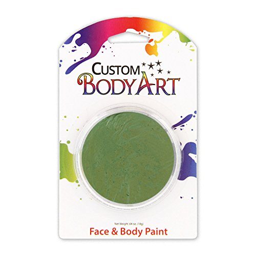 Custom Body Art LARGE 18ml Face Paint Color Single Colors 1-each (Green) - Great for Parties, Halloween & Birthdays