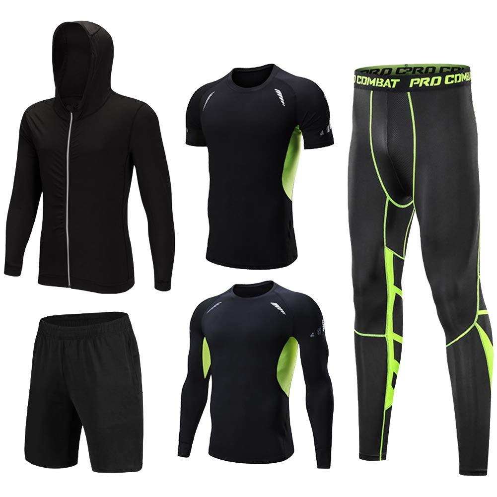 Shengwan 5 Pcs Herren Kompression Funktionswäsche Sportbekleidung Set, Gym Training Lauf Sportjacke,Kompressionsshirt,Sporthose Leggings,Trainingsshorts