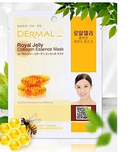 Dermal Korea Collagen Essence Full Face Facial Mask Sheet Pack No.2 Royal Jelly 10pcs (Collagen Jelly Pack Mask)