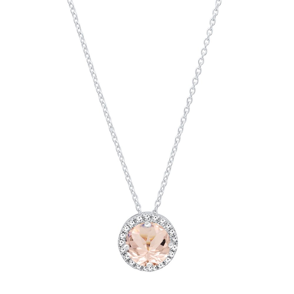 14K White Gold 5.5 MM Round Morganite & White Diamond Ladies Halo Style Pendant (Chain Included)