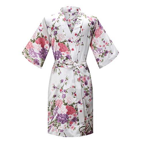 MORFORU Girls Kids Daffodils Silky Satin Kimono Robe Sleepwear for Wedding Spa Party, Short (White, Tag 12 for 4'1