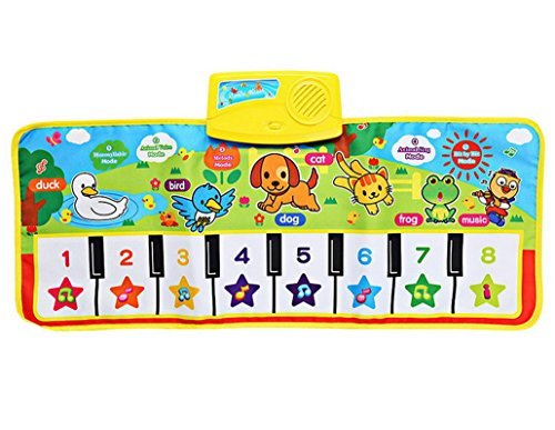 Durable and Foldable Piano Mat, 8 piano Functional Keys and 5 Selectable Animal Sounds, Play and Record, For Kids 3+, Dance and Learn