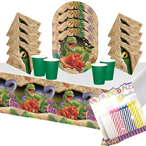 T-Rex Dinosaur Party Supplies Pack Serves 16: Dessert Plates, Beverage Napkins, Cups and Table Cover with Birthday Candles - (Bundle for 16)]()