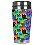 """Mugzie 7606-MAX """"Cat Silhouettes"""" Stainless Steel Travel Mug with Insulated Wetsuit Cover, 20 oz, Black"""