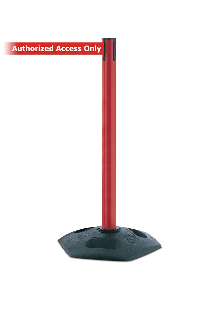 Tensabarrier 886-21-MAX-NO-RAX-C Heavy Duty Outdoor Post with Red Tube, No Custom Red Webbing/White''Authorized Access Only'' Standard Belt End, Maximum 13' by Tensabarrier