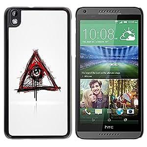 YiPhone /// Prima de resorte delgada de la cubierta del caso de Shell Armor - Evil Bleeding Eye Illuminati - HTC DESIRE 816
