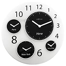 Unek Goods NeXtime, Big World Wall Clock, Battery Operated, Glass, Round, White and Black