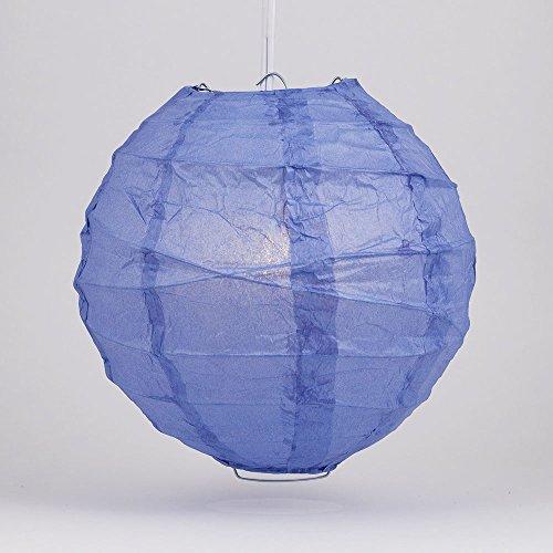 "PaperLanternStore.com 24"" Astra Blue Round Paper Lantern, Crisscross Ribbing, Hanging Decoration"