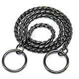 Moonpet P Snake Chain Dog Choke Collar - Heavy Duty for Small Medium Large Breeds - Command Obedience Training Slip Collar - Black, 20""