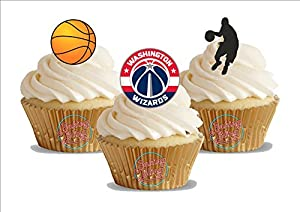 12 x Basketball Washington Wizards Mix - Fun Novelty Birthday PREMIUM STAND UP Edible Wafer Card Cake Toppers Decoration