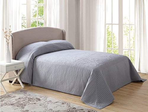 Pem America French Tile Quilted Bedspread in Grey King (French Quilted Pillow)