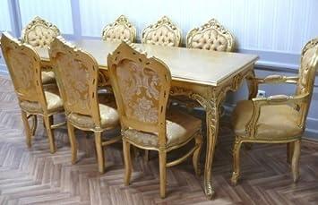 A&L Table de Salle à Manger de Style Baroque doré Vieilli ...