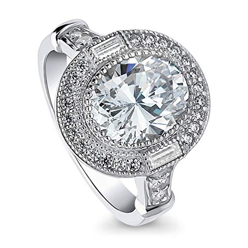 BERRICLE Rhodium Plated Sterling Silver Oval Cut Cubic Zirconia CZ Statement Halo Art Deco Milgrain Engagement Ring 2.43 CTW Size 5 Art Deco Engagement Ring Settings
