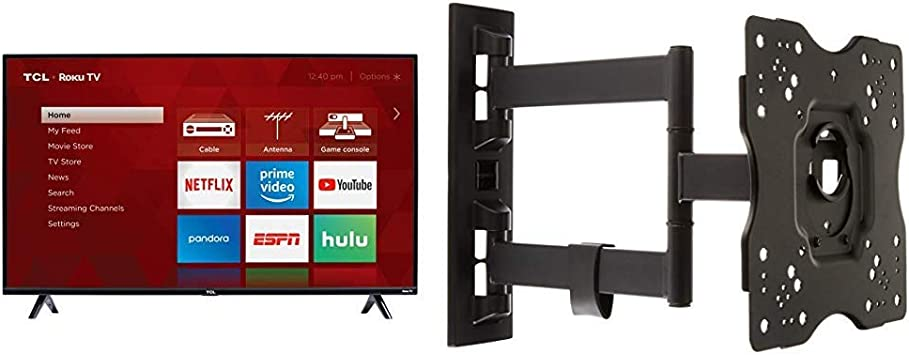 Amazon Com Tcl 49s325 49 Inch 1080p Smart Roku Led Tv 2019 Amazonbasics Heavy Duty Full Motion Articulating Tv Wall Mount For 22 Inch To 55 Inch Led Lcd Flat Screen Tvs Electronics