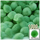 The Crafts Outlet 1,000-Piece Multi purpose Pom Poms, Acrylic, 38mm/about 1.5-inch, round, Light Green
