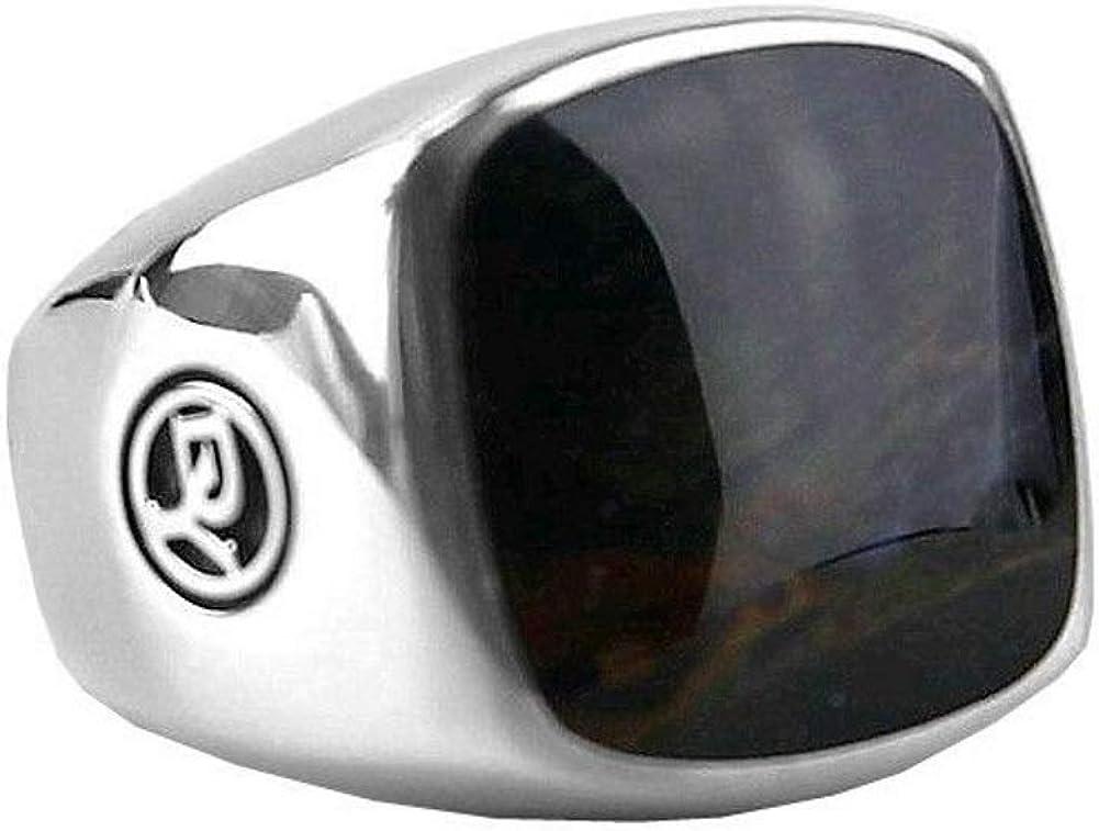David YURMAN Sterling Silver Signet Cushion PIETERSITE Ring Size 8 39R