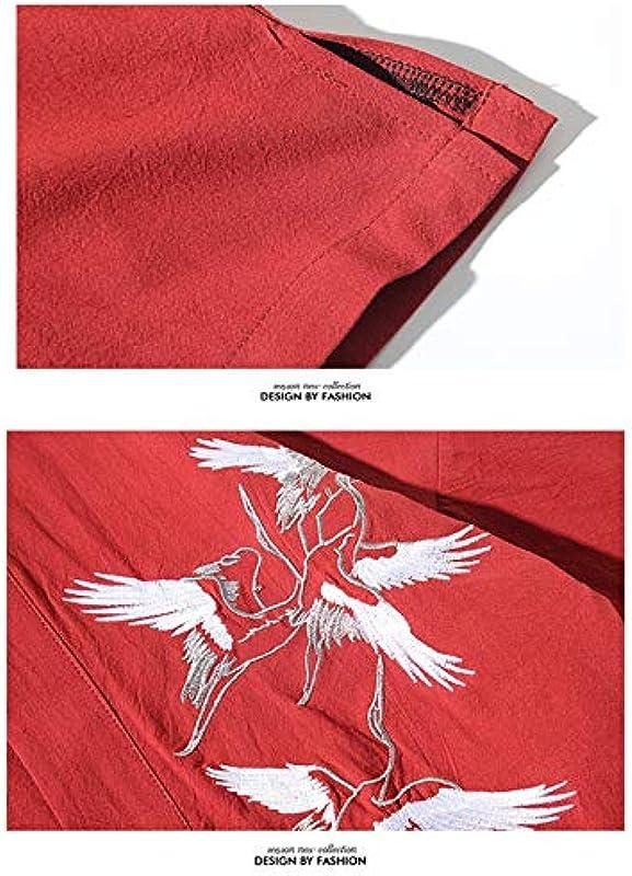 Japanische Kimono ? Męskie Kimono Cardigan Mantel Stickerei Einfarbig Dreiviertelärmel Lose Yukata Kordelzugverschluss,Winered-5XL: Küche & Haushalt
