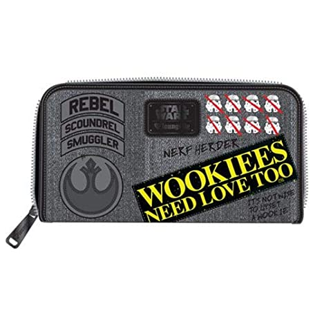 LOUNGEFLY - Cartera Denim Star Wars diseño Wookie con Parches: Amazon.es: Equipaje