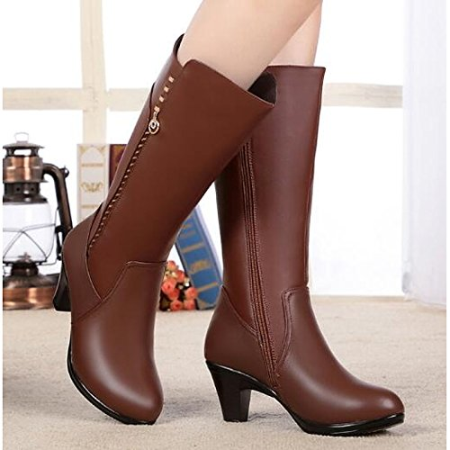 Brown US6   EU36   UK4   CN36 Brown US6   EU36   UK4   CN36 HSXZ Women's shoes Real Leather Winter Fall Fashion Boots Fluff Lining Boots Chunky Heel Pointed Toe Knee High Boots for Casual Black Brown