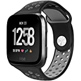 hooroor Fitbit Versa Silicone Sport Bands for Women Men Small Large, Soft Silicone Replacement Strap Wristband for Fitbit Versa Fitness Smart Watch