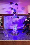 Cheap Decorative Multi-Color LED Table Lamp with Lavender Metal Flowers and Crystal Ball Stems