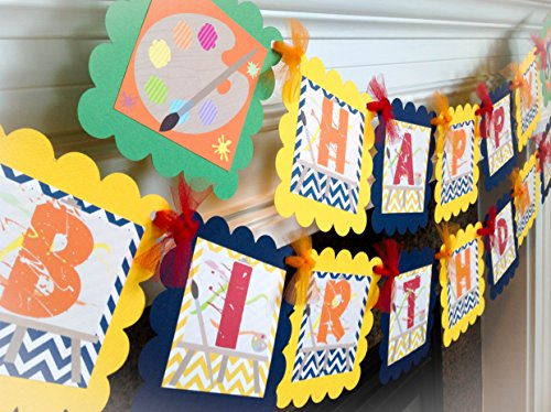 Art Studio Happy Birthday Banner - Navy Blue and Yellow Chevron & Orange, Red and Spring Green Accents - Party Packs Available from Emerald City Paperie