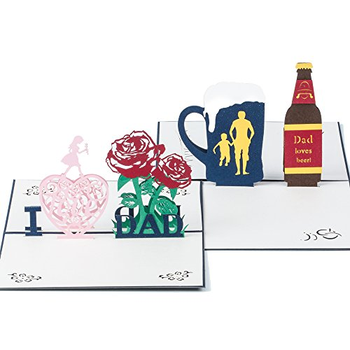 Ulgoo Father's Day 3D greeting Card Handmade Pop Up Greeting Cards for Father Birthday Gift Pack of 2 (Dad and Beer)