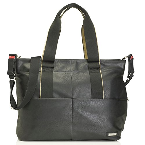 Eden Tote Bags - Storksak Eden Vegan Leather Shoulder Bag Diaper Bag, Black