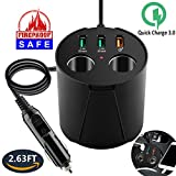 cigar jack usb - USB Car Charger Cigarette Lighter Splitter Dual Socket Cup Holder Adapter Universal Multi Charging Port Outlet Fast Quick Charge 3.0 Power for iPad iPhone X 8 7 6S 6 Plus Samsung S8 S7 Galaxy Android
