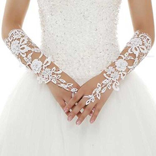 Pearl Beaded Fingerless Gloves (Venusvi Bride Wedding Party Fingerless Pearl Lace Satin Bridal Gloves (Ivory))
