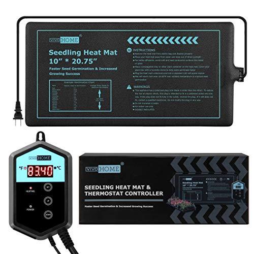 VIVOHOME 10 x20.75 Waterproof Seedling Heat Mat and 68-108 F Digital Thermostat Controller Combo Set MET Certified