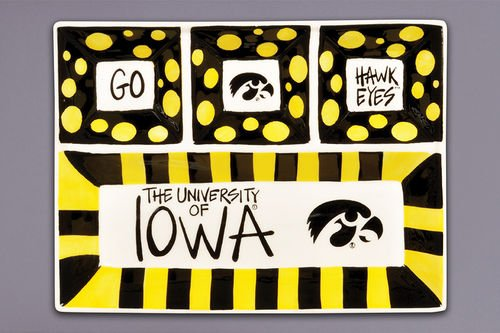 Magnolia Lane Collegiate Ceramic 4 Section Divided Tray (University of Iowa Hawkeyes)