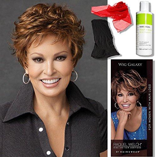 Bundle - 5 items: Autograph by Raquel Welch, Chiffon Scarf, Hairuwear Synthetic Shampoo, Hairuwear Hairloss Booklet, Black Wig Cap Liner, Color Chosen: RL 8/29