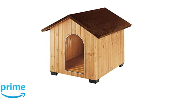 Feplast 87008000 Caseta de Exterior para Perros Domus Maxi, Robusta Madera Ecosostenible, Pies de Plástico, Rejilla de Ventilación, 111.5 x 132 x 103.5 Cm: ...