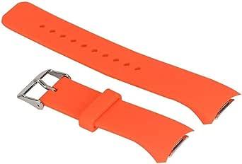 شريط ساعة سيليكون من لايجر متوافق مع ساعات سامسونج جير أس 2 آر 720 و أر 730  لون برتقالي محمر قياس كبير