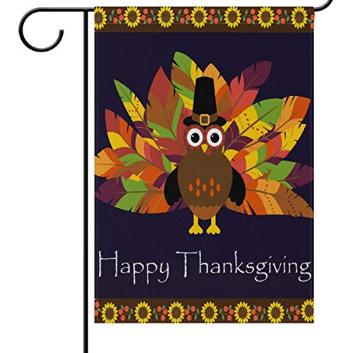(Wamika Thanksgiving Day House Flags 28 x 40 Double Sided, Happy Turkey Pilgrim Hat Sunflower Harvest Welcome Autumn Fall Outdoor Yard Garden Flag Banner Party Thanksgiving Decorations)