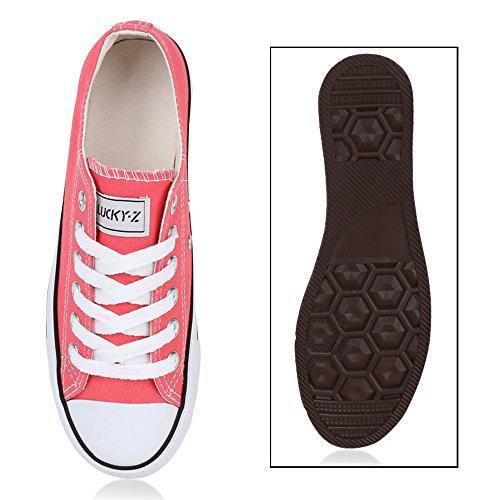 Unisex Damen Herren Schuhe Sneakers Turnschuhe Freizeitschuhe Low Sneaker Übergrößen Prints Glitzer Denim Flandell Coral