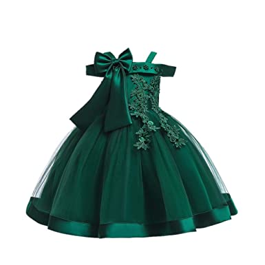 9cea99f7351d FARRYME Flower Girl Tutu Dress Lace Tulle Dresses with Bow Off Shoulder  Princess Pageant Gown for