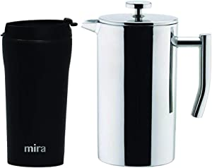 MIRA Coffee Lover Bundle with 12oz Insulated French Press (Stainless Steel) and 12oz Insulated Travel Mug (Black)