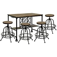 HOMES: Inside + Out Weston Industrial Style 5 Piece Counter Height Table Set, Medium Oak