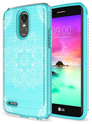 LG Stylo 3 Case, LG Stylo 3 Plus Case, Rosebono Premium Slim Fit Sleek Shockproof Carbon Fiber Mandala Pattern Design Case Cover for LG Stylo 3 / LS777 (Green Mehandi)