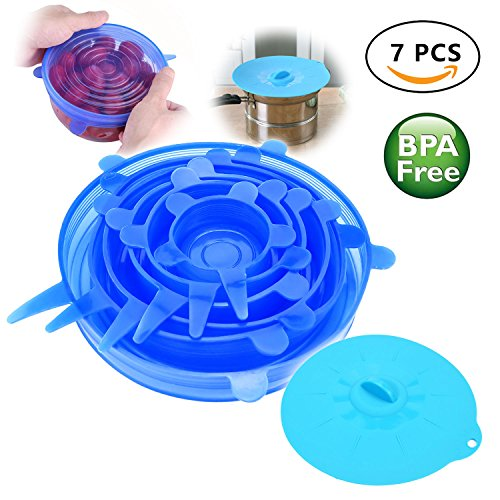 Silicone Stretch Lids Various Sizes Reusable Food Cover with Large Size Suction Lid (7 Pack)
