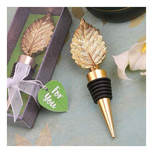 Stoppers Fall Wine Bottle Autumn (12 Gold Autumn Fall Leaf Wine Bottle Stopper Wedding Bridal Shower Party Favors)