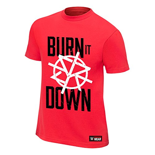 WWE Seth Rollins Burn It Down Red Authentic T-Shirt Black Medium by WWE Authentic Wear