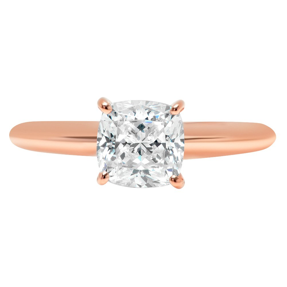 2.5ct Cushion Brilliant Cut Classic Solitaire Designer Wedding Bridal Statement Anniversary Engagement Promise Ring Solid 14k Rose Gold, 10.25
